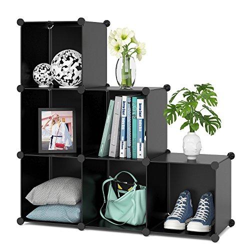 Homfa Cube Storage Organizer 6 Cubes DIY Plastic Modular Closet Cabinet Storage Organizer Living Room Office Bookcases Shelves for Books Cloths Toys Shoes Arts Black