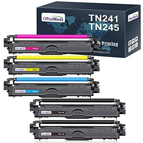 OfficeWorld Kompatibel Toner TN241 TN245 Ersatz für Brother TN-242 TN-241 TN-245 TN-246 für Brother HL-3142CW 3140CW 3172CDW 3152CDW 3170CDW, MFC-9332CDW 9142CDN 9342CDW, DCP-9022CDW 9020CDW (5 PCS)