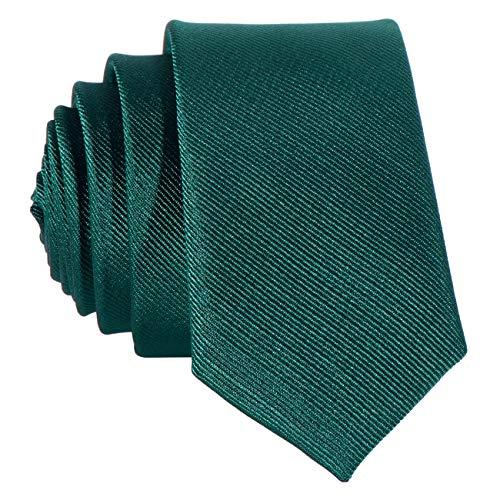 DonDon schmale grüne Krawatte 5 cm
