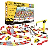 USA Toyz Snap Trax Construction Set - STEM Building Bendable LED Race Tracks and LED Toy Trucks Construction Set with Light Up Race Tracks and 3 Light Up Toy Cars (248 Pieces)