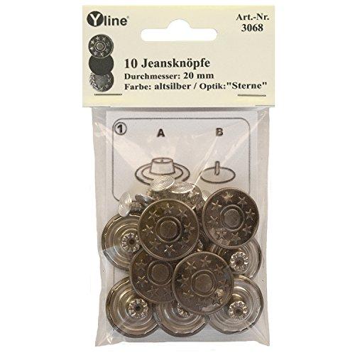 Yline 10 Jeans Knöpfe Altsilber 20 mm, Jeansknöpfe Metallknopf, Metall Knöpfe, nähfrei, im SB Pack, 3068
