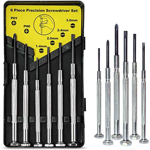 6PCS Mini Screwdriver Set, Small Screwdriver Set with 6 Different Size Flathead and Phillips Screwdrivers, Precision Screwdriver Set for Jewelry, Watch, iPhone, Eyeglass Repair