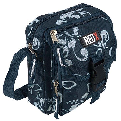 Mesdames Petit sac bandoulière/Croix de voyage utilitaire Corps Hibiscus par Rouge x Festival Turquoise Navy Hibiscus taille unique