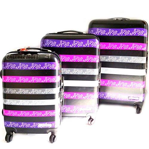Set di 3 trolley valigia abs 'Keith Haring'porpora nero (51/61/71 cm).