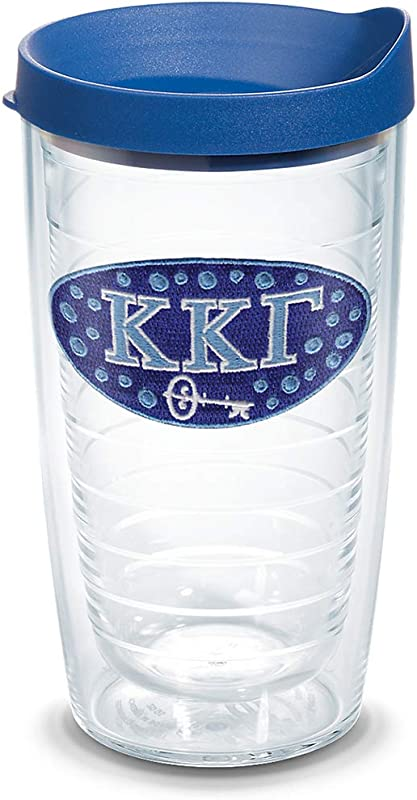 Tervis 1076200 Sorority Kappa Kappa Gamma Tumbler With Emblem And Blue Lid 16oz Clear