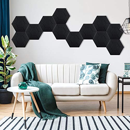 """3D Acoustic Panels LETIGO 12 Pack Acoustic Panels Soundproof Padding High Density Decorative Sound Dampening Panels for Home and Offices 14""""x12""""x0.4"""" (Black)"""