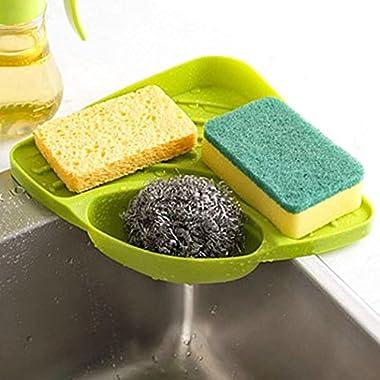 Tloowy Kitchen Gadget Organizer Sink Suction Corner Shelf Wall Cuisine Dish Rack Drain Shelf Sponge Holder