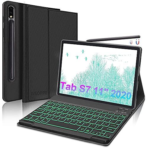 IVEOPPE Funda con Teclado Español Ñ para Samsung Galaxy Tab S7 11'' 2020 SM-T870/T875/T878, Ñ Teclado Extraíble con Retroiluminación Bluetooth para Samsung Galaxy Tab S7 de 11 Pulgadas, Negro