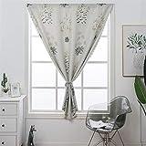 Liveinu Cortinas opacas elegantes con cierre de velcro, sin agujeros, para dormitorio o salón, 80 x 130 cm, diseño de flores, color beige