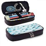 Estuche de cuero para bolígrafos y lápices Peces azules en el mar Estuche para lápices con un compartimento principal para estudiantes, artistas, trabajo en casa, oficina