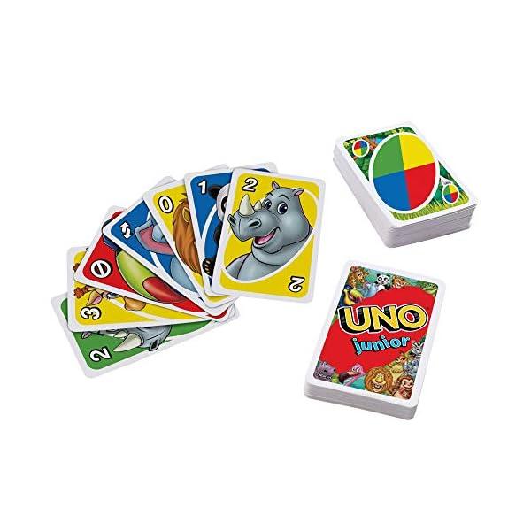 Mattel Games Juego de cartas UNO Junior, juego de mesa para niños con dibujos de animales (Mattel GKF04)