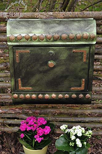 BTV Ölbaum Briefkasten Stahl-Optik, mit Zeitungsfach, Runddach hegr/at hellgrün moosgrün grün anthrazit schwarz mit Farbe-goldfarbenen Schrauben Zeitungsrolle Postkasten Vintage