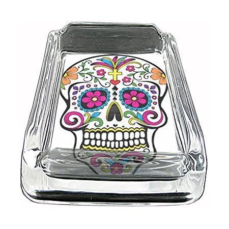 Sugar Skull Black Metal Car Ashtray D12 Day of the Dead Skeletons Folk Art