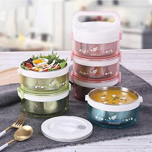 N-B Caja de almuerzo térmica desmontable de acero inoxidable creativo a prueba de fugas Bento Box contenedor de alimentos portátil para niños escuela cena conjunto