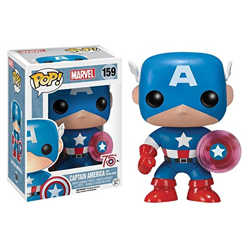 Funko 024964 Pop Marvel: Capitan America con Photon Shield 75th Anniversary Limited 159 Vinilo de Bobble Head
