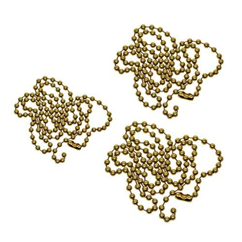 yotijar 3 cadenas de bolas con cuentas de latón con conector de candado para collar, joyas, resultados artesanales.