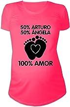 Regalo Personalizable para Mujeres Embarazadas: Camiseta 'porcentajes' Personalizada con los Nombres de la Madre y del Padre del bebé (Rosa)