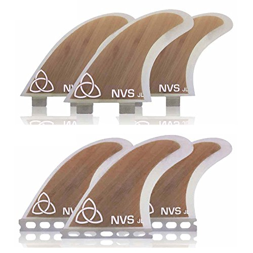 Naked Viking Surf Medium JL Thruster Surfboard Fins (Set of 3) Bamboo, Futures Base