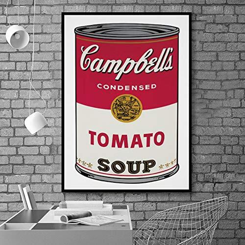 Wandkunst Poster Leinwand Malerei Andy Warhol Tomatensuppe Abstrakt Art Deco Bild Wohnzimmer Home Rahmenlose dekorative Wandmalerei A37 60x90cm