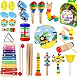 Kids Musical Instruments, 30Pcs 17 Types Wooden Instruments Tambourine Xylophone Toys for Kids Children, Preschool Educational Learning Musical Toys for Boys Girls with Backpack