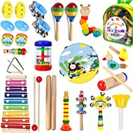 MAXZONE Kids Musical Instruments Sets, 12pcs Wooden Percussion Instruments Toys Tambourine Xylophone for Kids Playing Preschool Education, Early Learning Musical Toys for Boys Girls Gift (Yellow)