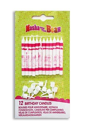 12 CANDELINE MASHA E ORSO CANDELE TORTA COMPLEANNO BAMBINA CAKE DESIGN BEAR