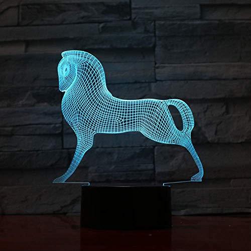 Mignon Coloré Cheval Poney Jouets Petit Poney 3D Illusion Nuit Lumière Tactile Acrylique Veilleuse Bébé Enfants Dormir Lampe 3D