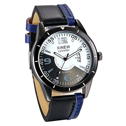 JewelryWe Mannen Analoge Auto Datum Quartz Horloge Zwart Lederen Band Creatieve Stopwatch Horloges