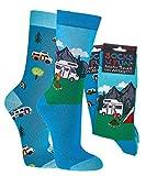 FussFre&e Spaß mit Socken, Socken mit verschiedenen Motiven für Damen & Herren (Camping, 36-41)