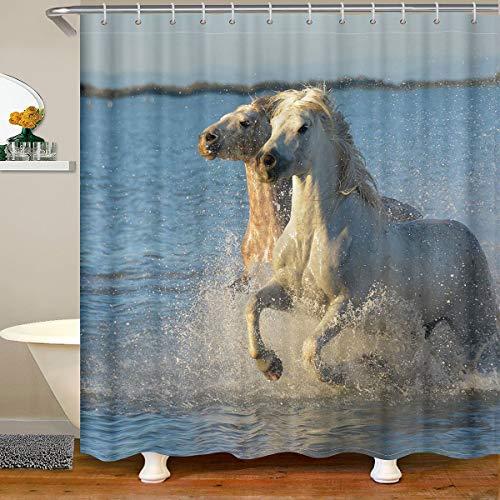 Cortina de ducha de caballos, tela de caballos, cortinas de ducha, para niños, niñas, saltos, animales salvajes, baño impermeables, accesorios con ganchos, cortinas de vida silvestre, 180 x 200 cm