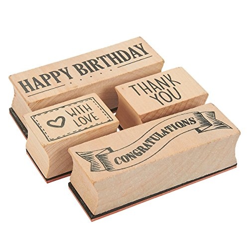 4-Piece Card Making Stamps Set - Wood Mounted Rubber Stamps for Card Making, DIY Crafts, Scrapbooking - Happy Birthday, Thank You, Congratulations, With Love
