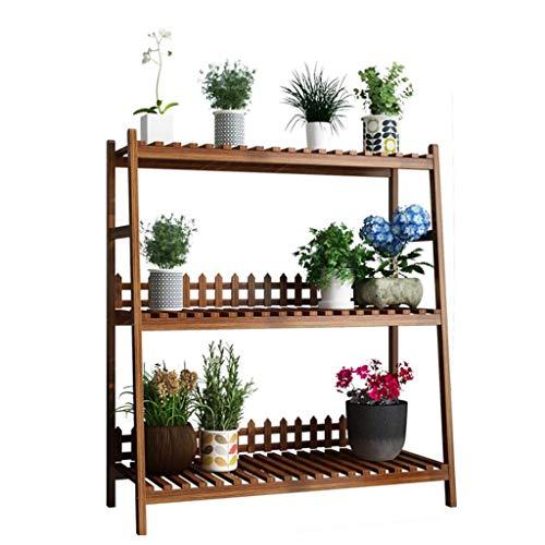 HJ Plante de stand Planteur étagères Pot de fleurs Organisateur Support de rangement à 3 niveaux pliant Plantes d'étagères d'affichage Porte-unité étagère (Size : Long 80cm)