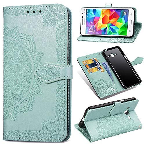 Qiaogle Cover per Samsung Galaxy Grand Prime / G530 - PU Leather in Pelle Basamento Mandala Protettiva Custodia per Samsung Galaxy Grand Prime / G530 - SD14 / Verde