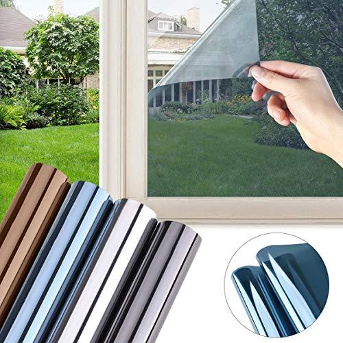 LC&TEAM Fensterfolie Spiegelfolie selbsthaftend Statischer Sichtschutzfolie Sonnenschutzfolie Fenster Folie für Haus Büro, 90 x 200 cm Blau