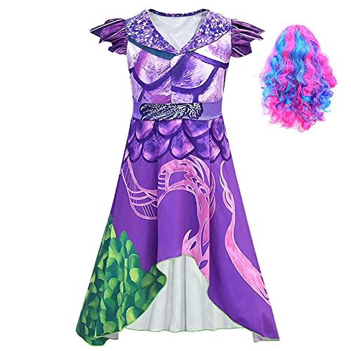 ACCLD Disfraz de Cosplay para niñas descendientes 3 Vestido púrpura Disfraz de Cosplay para niños Estampado en 3D Disfraces de Halloween para niñas Fiesta de Carnaval para niñas,C,M