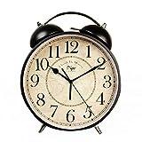 Despertador 8 pulgadas Relojes de alarma de campana doble vintage Reloj de mesa de metal ultra silencioso Escritorio Armario Despertador de cabecera para oficina en el hogar(Color:Negro,Tamaño:23.5x8x
