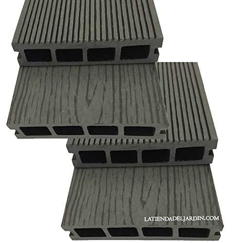 Suinga. Pack 4 TABLONES JARDIN COMPOSITE GRIS 200 x 14,6 x 2,5 cm. Compuesto por una mezcla heterogénea de madera natural reciclada y materiales sintéticos.