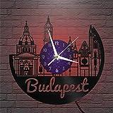 Budapest Reloj de Pared LED con Disco de Vinilo de 12 Pulgadas, Reloj de Pared de Vinilo para Cocina, hogar, Sala de Estar, Dormitorio, Escuela (P), con Reloj de Vinilo LED Exclusivo, pájaro