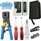 Solsop 9 in 1 Network Tool Kit Professional, Cat6 Cat5e EZ Rj45 Crimp Tool, 8P8C RJ45 Connectors, Cable Tester, 2 Pack Screwdriver, Stripping Pliers Tool Set