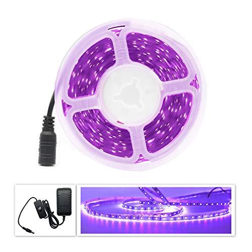 UV LED Strip Schwarzlicht Streifen Set, Band Leiste SMD 2835 UV Licht Lichterkette Lichtleiste mit Netzteil für Karneval Bar Disco Party Deko, 5M IP20