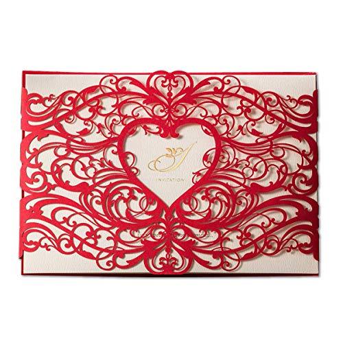 Wishmade - Juego de 50 tarjetas de invitaciones de boda, cortadas con láser, diseño de corazón, hueco, flores, para cumpleaños, novia, ducha con sobres