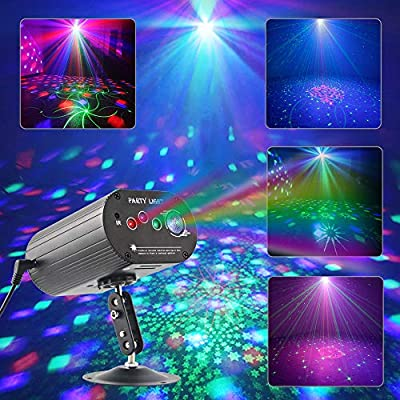 CHINLY Party Lights RGB DJ Disco Stage Laser Light Sound Activated Led Projector for Christmas Halloween Decorations Gift Birthday Wedding Bar (48 Patterns + Background)