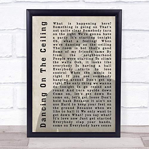 Impresión con cita de Lionel Richie Dancing On The Ceiling Shadow Song Lírica Framed Oak Large