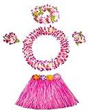 Fighting to Achieve 40cm Pink Grass Skirt with Flowers Bracelets Headband Necklace Hula Set