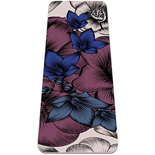 Flores de Pueple Azul Esterilla de Yoga TPE Lindo tapete Antideslizante para el Suelo con Bolsa para Mujeres Hombres niños Adultos 183x61cmx0.6cm