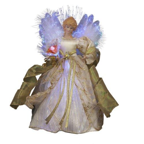 Kurt Adler CUL Fiber Optic LED Angel Christmas Treetop Figurine, 12-Inch, Ivory and Gold
