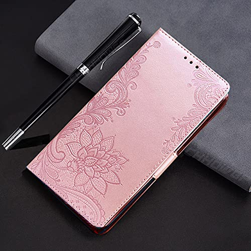 Estuche para Libro con Billetera de Cuero con Tapa magnética para iPhone 11 12 Pro MAX XR X XS MAX SE 2020 8 7 6s 6 Plus Funda para teléfono con Flor en Relieve, Oro Rosa, para iPhone 12