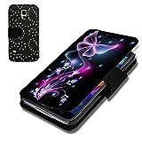 Book Style Strass Glitzer Flip Handy Tasche Case Schutz Hülle Schale Motiv Foto Etui für Samsung Galaxy S5 Neo - Strass F6 Design6