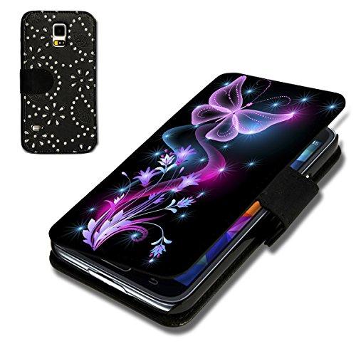 wicostar Book Style Strass Glitzer Flip Handy Tasche Hülle Schutz Hülle Schale Motiv Foto Etui für Huawei Ascend Y550 - Strass F6 Design6