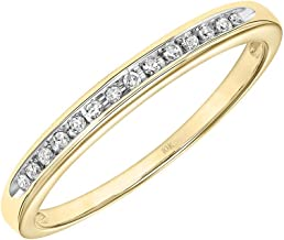 Brilliant Expressions 10K Yellow Gold 1/20 Cttw Conflict Free Diamond Channel-Set Wedding or Anniversary Band (I-J Color, I2-I3 Clarity)